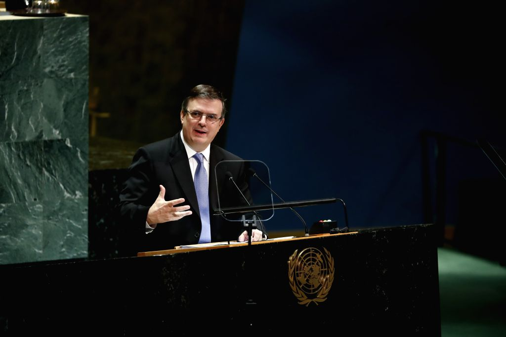 UNITED NATIONS, Sept. 28, 2019 - Mexican Foreign Minister Marcelo Ebrard addresses the General Debate of the 74th session of the UN General Assembly at the UN headquarters in New York, on Sept. 28, ... - Marcelo Ebrard