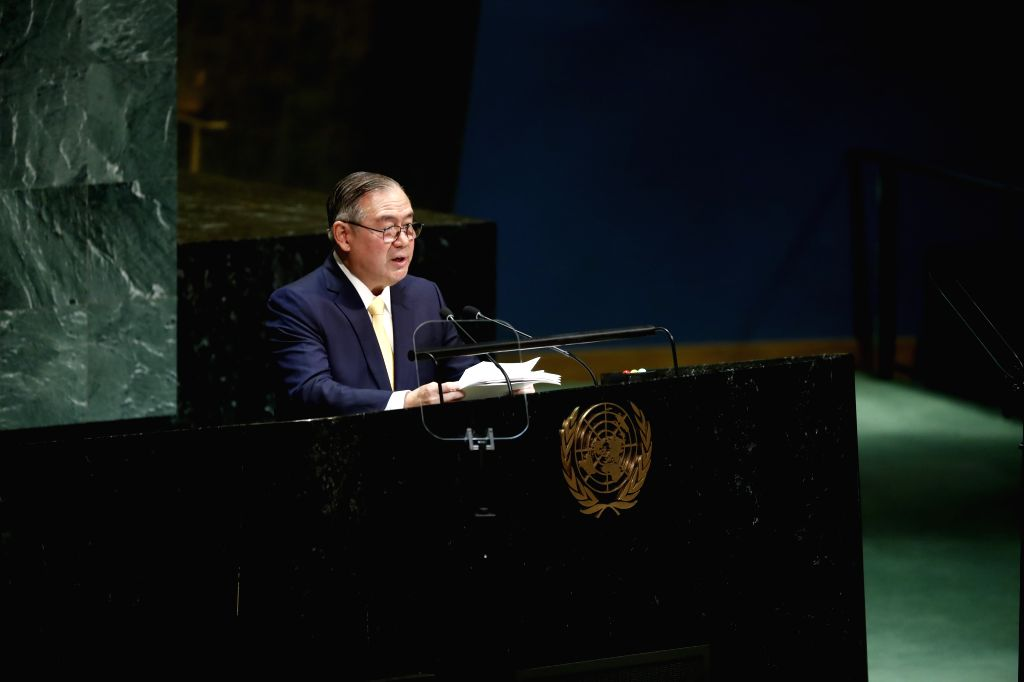 UNITED NATIONS, Sept. 28, 2019 - Philippine Foreign Affairs Secretary Teodoro Locsin addresses the General Debate of the 74th session of the UN General Assembly at the UN headquarters in New York, on ...