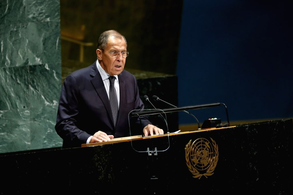UNITED NATIONS, Sept. 28, 2019 - Russian Foreign Minister Sergey Lavrov addresses the General Debate of the 74th session of the UN General Assembly at the UN headquarters in New York, Sept. 27, 2019. - Sergey Lavrov