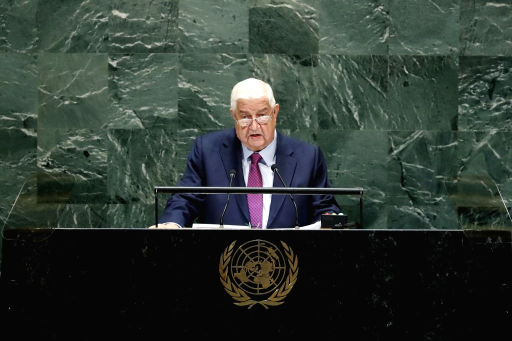UNITED NATIONS, Sept. 28, 2019 - Syrian Deputy Prime Minister and Foreign Minister Walid al-Moallem addresses the General Debate of the 74th session of the UN General Assembly at the UN headquarters ... - Walid