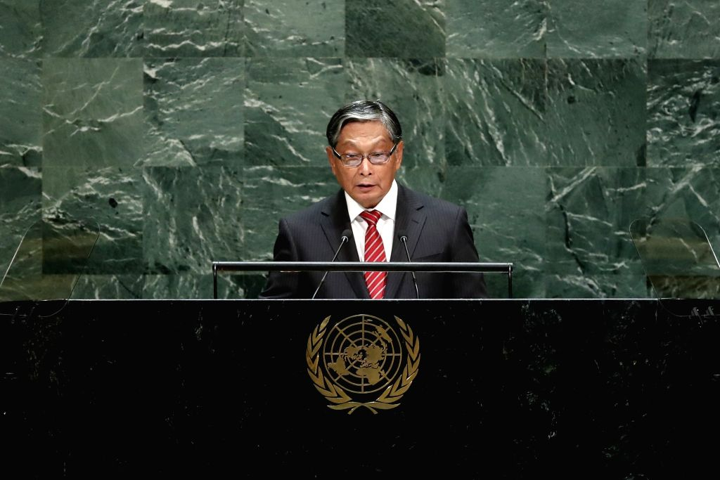 UNITED NATIONS, Sept. 28, 2019 - U Kyaw Tint Swe, Myanmar's Minister of the Office of the State Counselor, addresses the General Debate of the 74th session of the UN General Assembly at the UN ...
