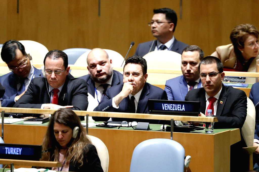 UNITED NATIONS, Sept. 28, 2019 - Venezuelan Foreign Minister Jorge Arreaza (R) listens as Venezuelan Vice President Delcy Rodriguez addresses the General Debate of the 74th session of the UN General ... - Jorge Arreaza
