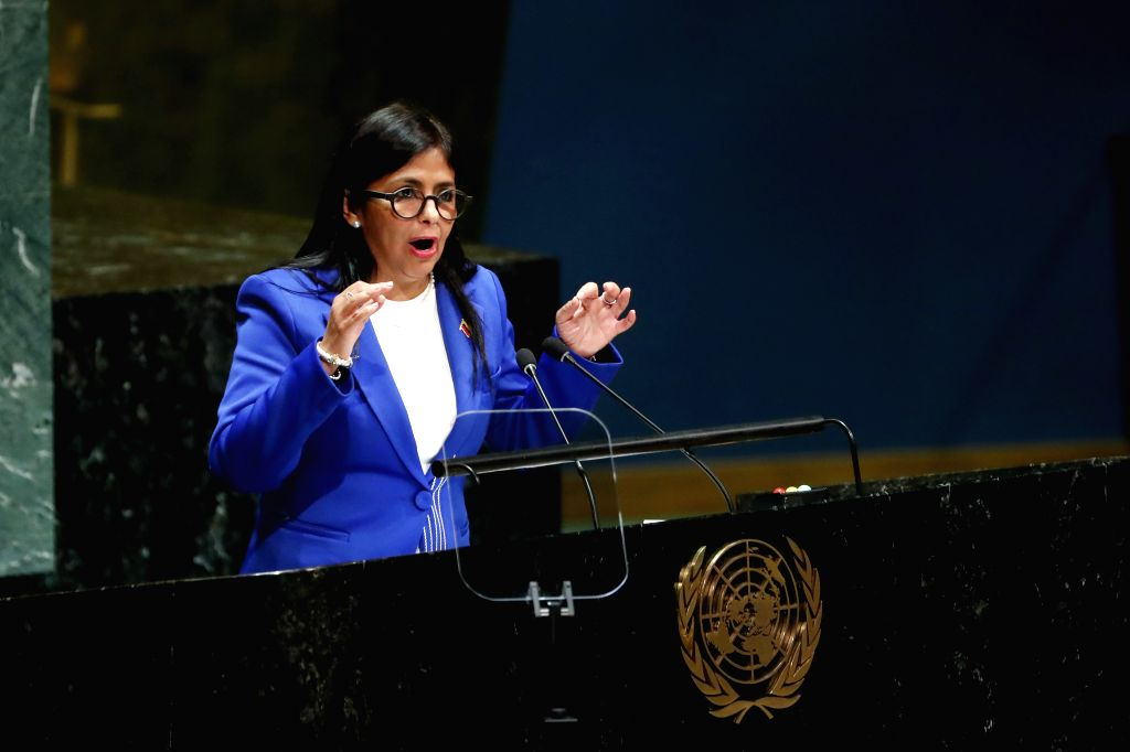 UNITED NATIONS, Sept. 28, 2019 - Venezuelan Vice President Delcy Rodriguez addresses the General Debate of the 74th session of the UN General Assembly at the UN headquarters in New York, Sept. 27, ...