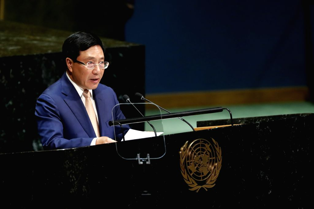 UNITED NATIONS, Sept. 28, 2019 - Vietnamese Deputy Prime Minister and Minister for Foreign Affairs Pham Binh Minh addresses the General Debate of the 74th session of the UN General Assembly at the UN ...