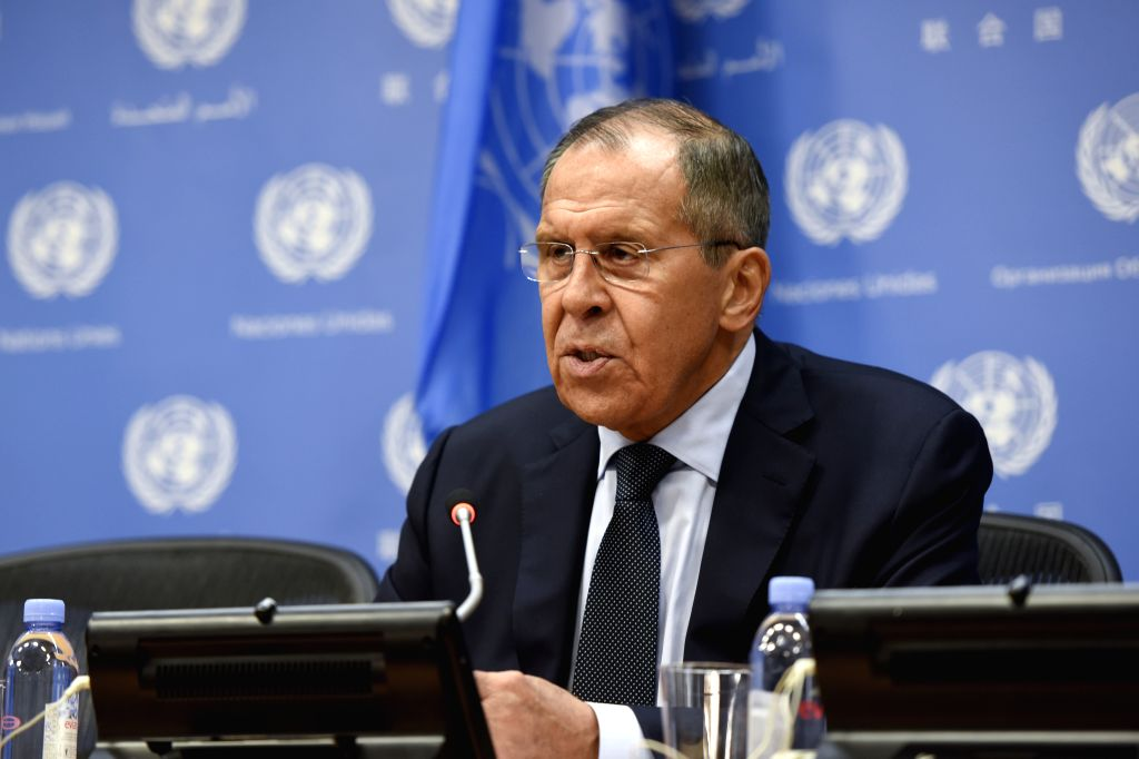 UNITED NATIONS, Sept. 28, 2019 (Xinhua) -- Russian Foreign Minister Sergey Lavrov speaks during a press conference on the sidelines of the 74th session of the United Nations General Assembly at the UN headquarters in New York, Sept. 27, 2019. (Xinhua - Sergey Lavrov