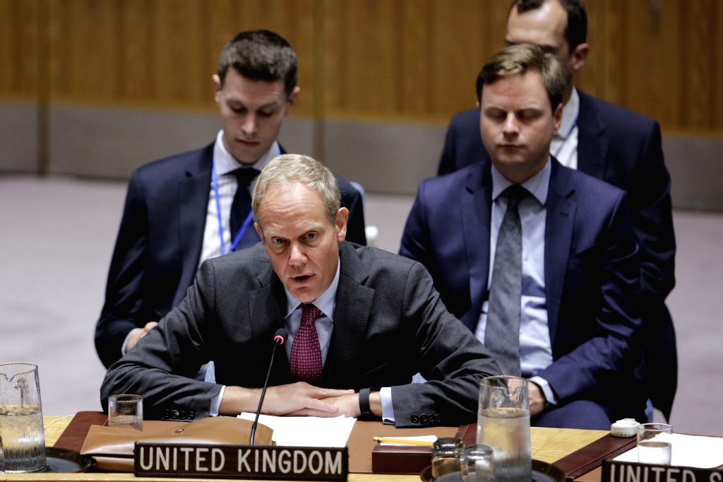 UNITED NATIONS, Sept. 4, 2017 - British ambassador to the United Nations Matthew Rycroft (Front) addresses a United Nations Security Council emergency meeting on the Democratic People's Republic of ...