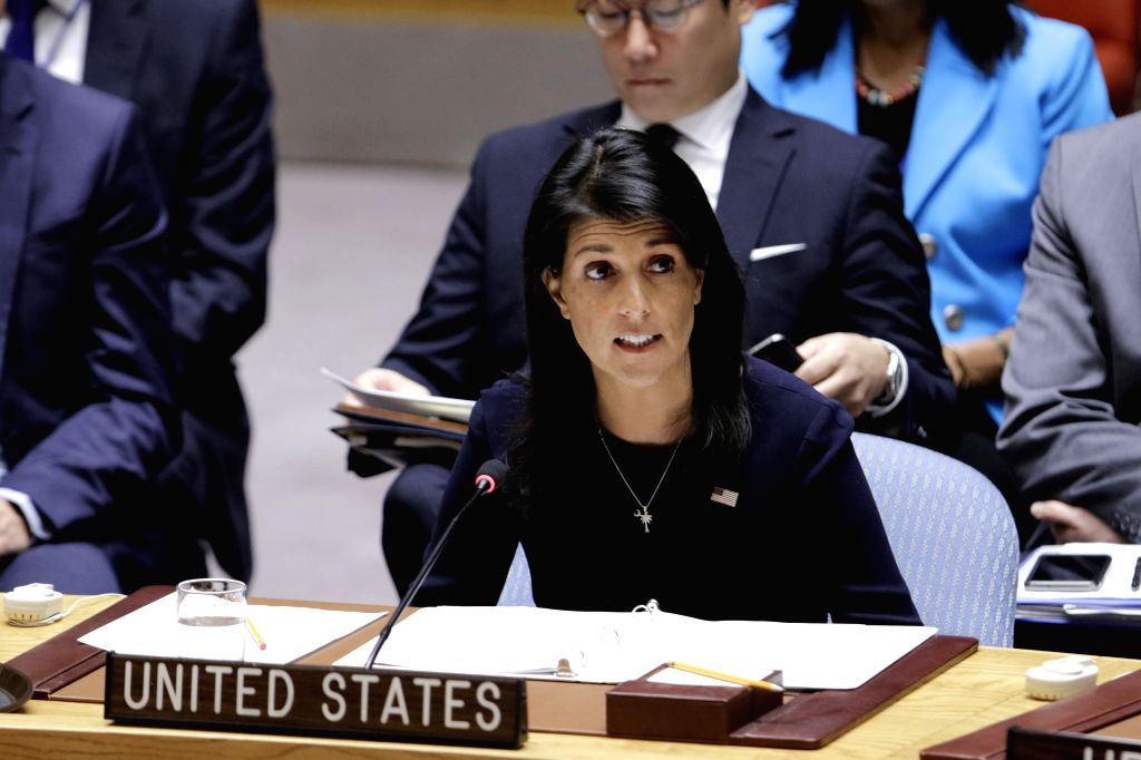 UNITED NATIONS, Sept. 4, 2017 - U.S. ambassador to the United Nations Nikki Haley (Front) addresses a United Nations Security Council emergency meeting on the Democratic People's Republic of Korea ...
