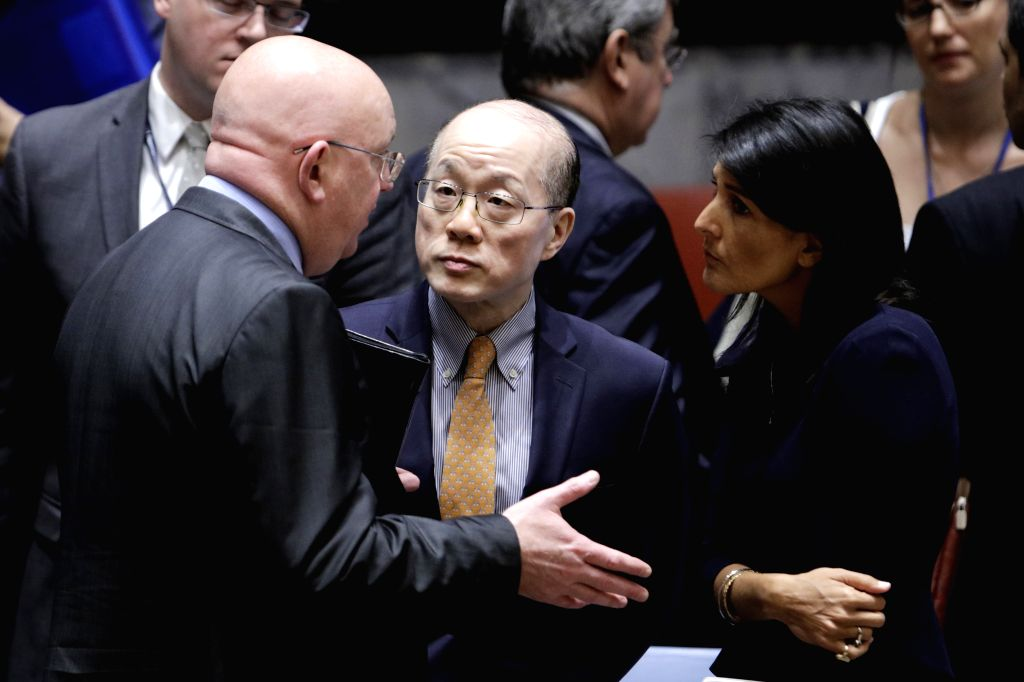 UNITED NATIONS, Sept. 4, 2017 - U.S. ambassador to the United Nations Nikki Haley (R), Liu Jieyi (C), China's permanent representative to the United Nations, and Russian ambassador to the United ...
