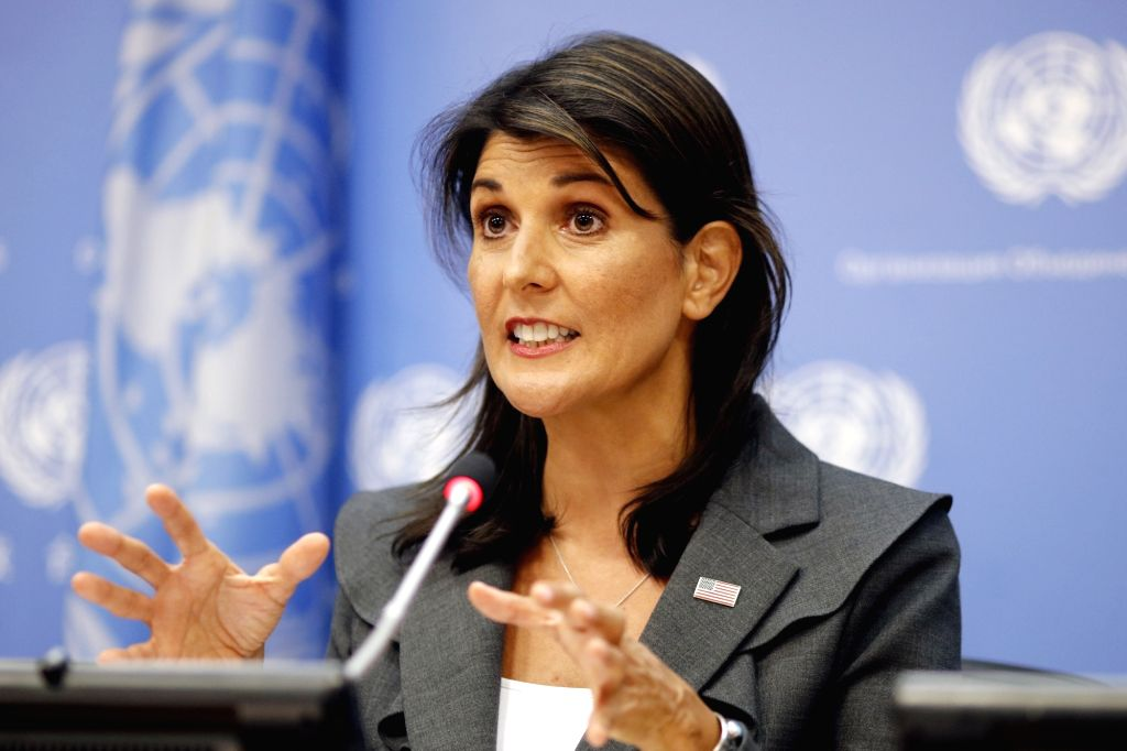 UNITED NATIONS, Sept. 4, 2018 (Xinhua) -- U.S. Ambassador to the United Nations Nikki Haley, whose country is taking over the presidency of the Security Council for September, briefs the press at the UN headquarters in New York, Sept. 4, 2018. The UN
