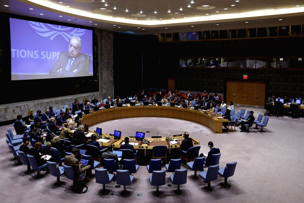 UNITED NATIONS, Sept. 4, 2019 - Photo taken on Sept. 4, 2019 shows the United Nations Security Council holding a meeting on the situation in Libya, at the UN headquarters in New York. Wu Haitao, ...