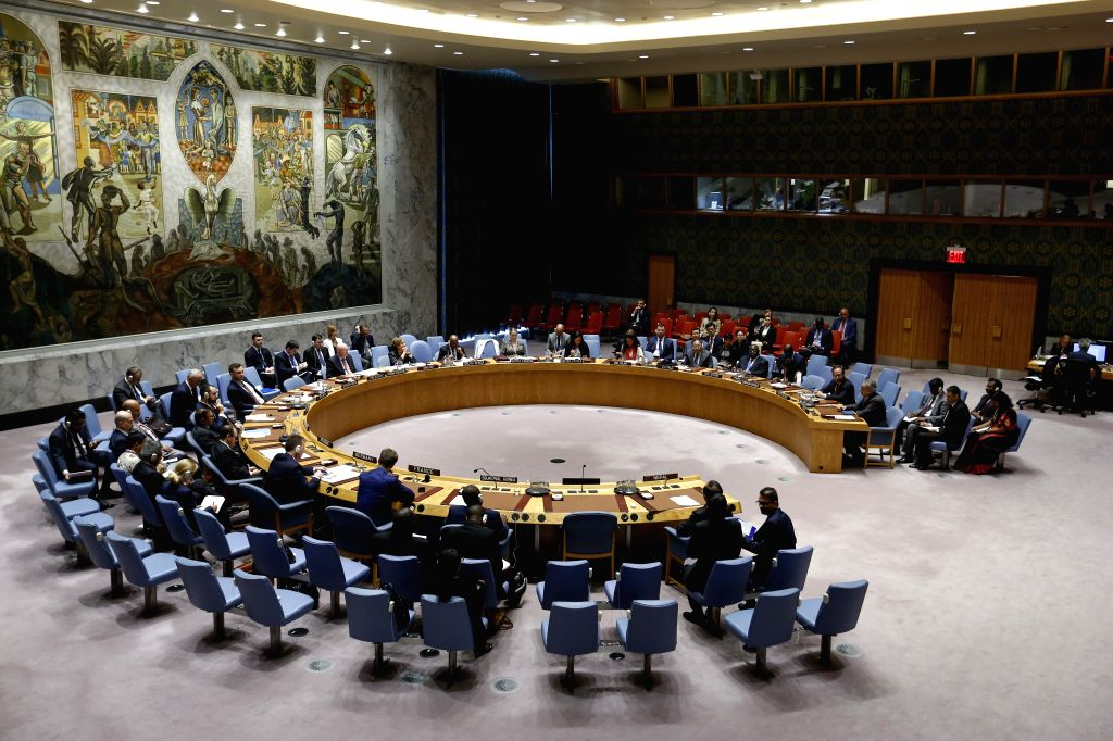 UNITED NATIONS, Sept. 9, 2019 (Xinhua) -- Photo taken on Sept. 9, 2019 shows the United Nations Security Council holding a meeting on UN peacekeeping operations at the UN headquarters in New York. The UN peacekeeping efforts aim to strengthen its mis