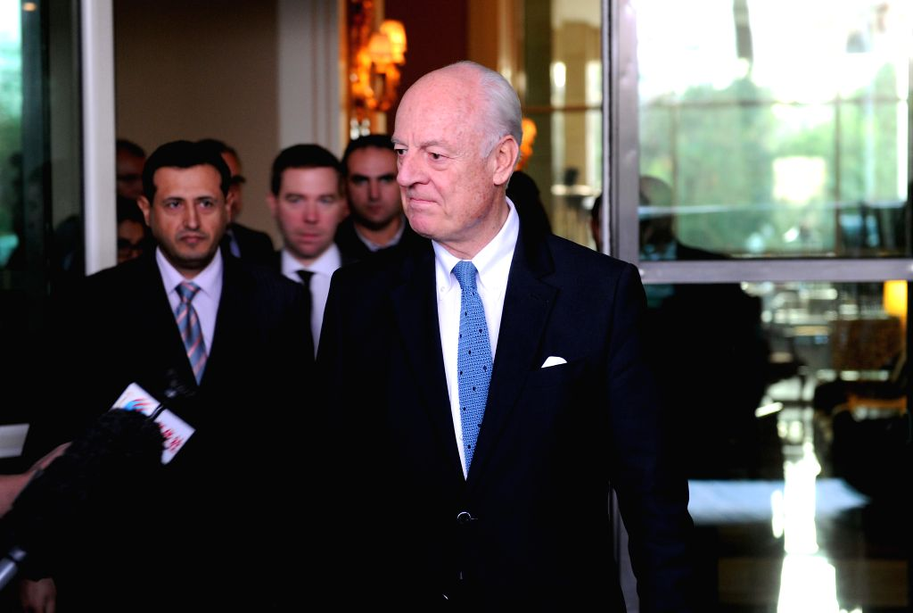 United Nations Special Envoy for Syria Staffan de Mistura speaks to the press in Damascus, capital of Syria, on Nov. 2, 2015.