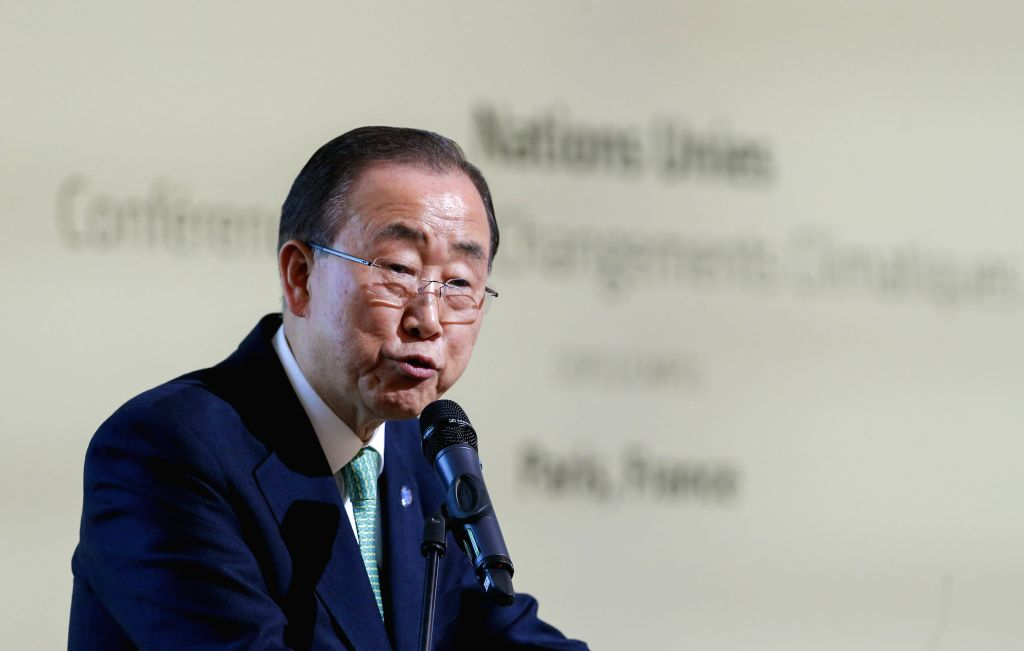 United Nations (UN) Secretary General Ban Ki-moon speaks during the announcement of the Climate Resilience Initiative on the sidelines of the 2015 United Nations ...