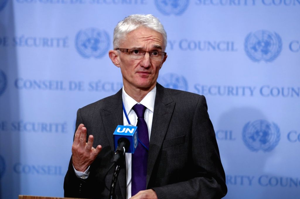 : United Nations Under-Secretary-General for Humanitarian Affairs and Emergency Relief Coordinator Mark Lowcock speaks to journalists on the humanitarian ...