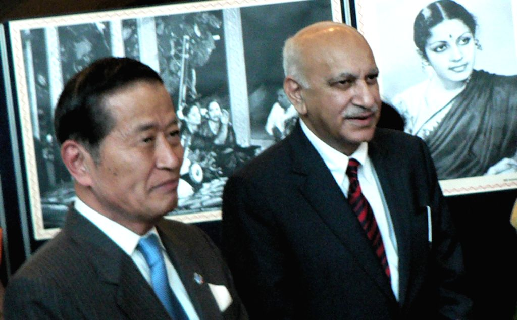United Nations Under Secretary General for Management Yukio Takasu, left, and India\'s Minister of State for External Affairs M J Akbar at the inauguration at the UN on Monday Aug. 15, 2016, of an ...