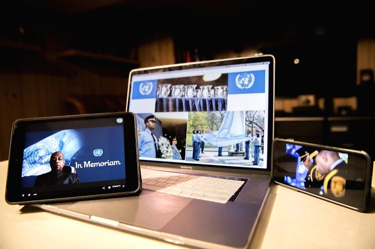 United Nations Under-Secretary-General for Operational Support, Atul Khare (lower left screen), speaks during the annual memorial service to honour those who lost their lives while serving the UN. It was held online this year because of the COVID-19