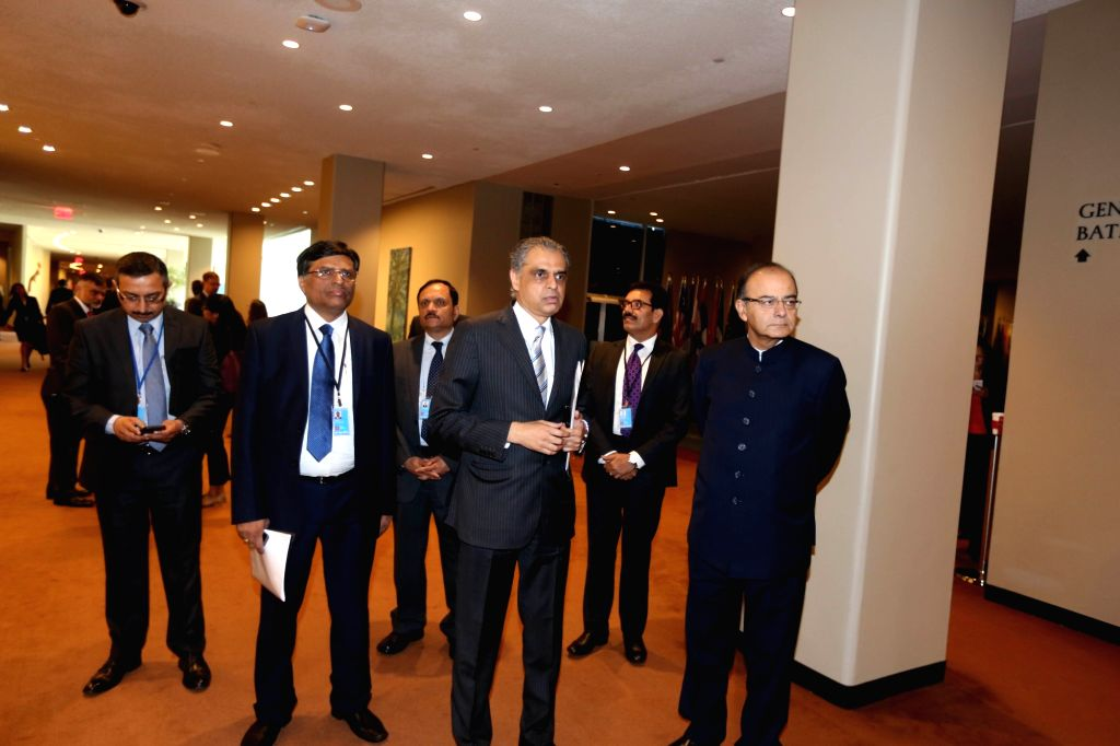 United Nations: Union Minister for Finance, Corporate Affairs, and Information and Broadcasting Arun Jaitley  with India's Permanent Representative to the UN Ambassador Syed Akbaruddin at United ... - Arun Jaitley