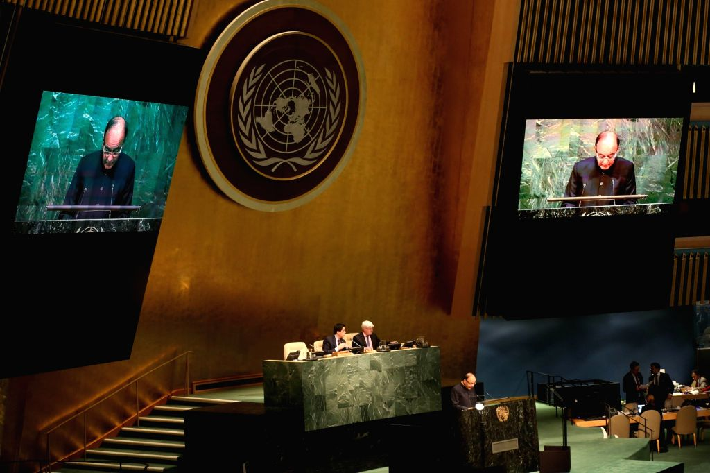 United Nations: Union Minister for Finance, Corporate Affairs, and Information and Broadcasting Arun Jaitley addresses at UN General Assembly on April 19, 2016. - Arun Jaitley