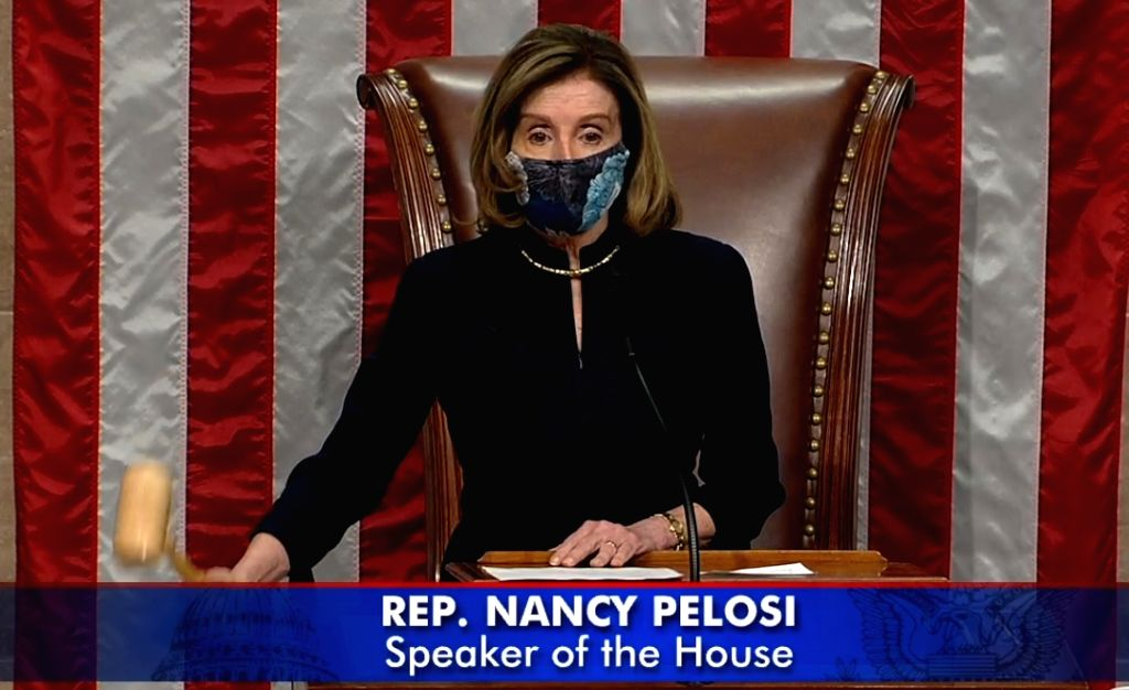 United States House of Representatives Speaker announces the passage of the impeachment of President Donald Trump on Wednesday. January 13, 2021.