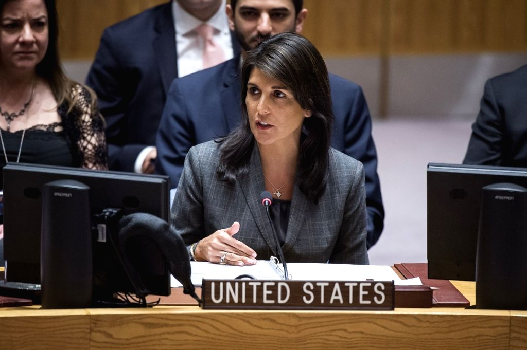 United States Permanent Representative Nikki Haley, who Is member of the cabinet, speaks on Wednesday, March 29, 2018, at the United Nations Security Council ministerial-level meeting on peacekeeping ...