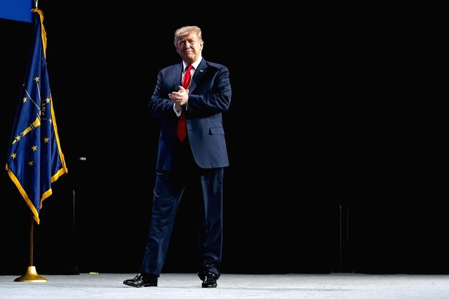United States President Donald Trump speaks at the annual meeting of the National Rifle Association on Friday, April 26, 2019. He announced that the US was pulling out of the Arms Trade Treaty. (Photo: White House/IANS)