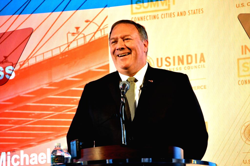 United States Secretary of State Mike Pompeo delivers the keynote address to the India Ideas Summit of the US-India Business Council in Washington on Wednesday, June 12, 2019. (Photo: StateDept/IANS)