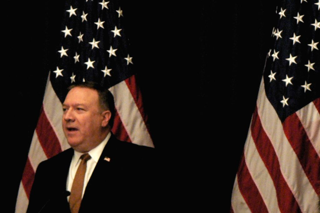 : United States Secretary of State Mike Pompeo speaks at a news conference in New York after his meeting with Kim Yong Chol, the representative of North Korean leader Kim Jong Un. (Photo: IANS/AL).