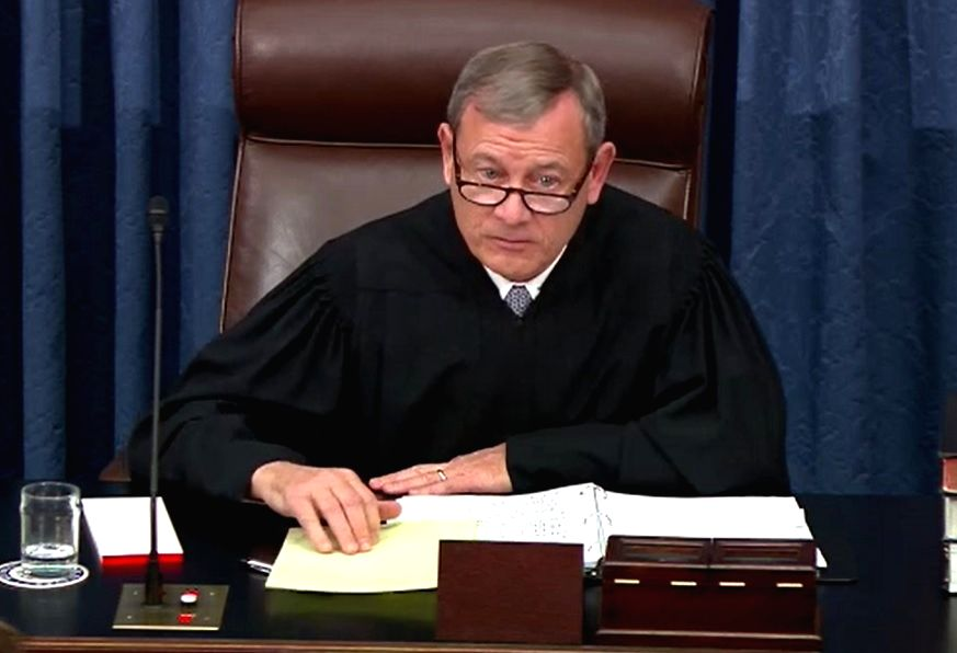 United States Supreme Court Chief Justice John Roberts presides over the Senate trial of President Donald Trump on January 22, 2020.