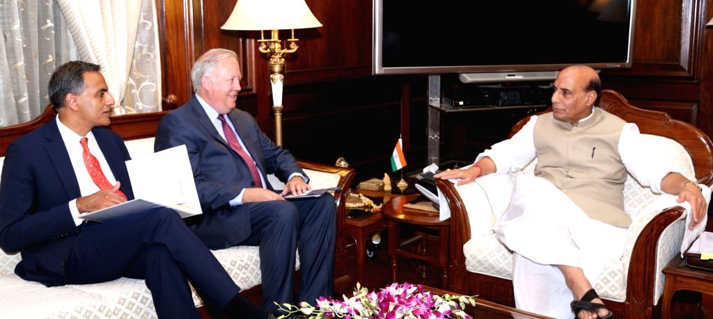 United States' Under Secretary for Political Affairs Tom Shannon calls on the Union Home Minister Rajnath Singh, in New Delhi on June 30, 2016. Also seen US Ambassador to India Richard ... - Rajnath Singh and Richard R. Verma