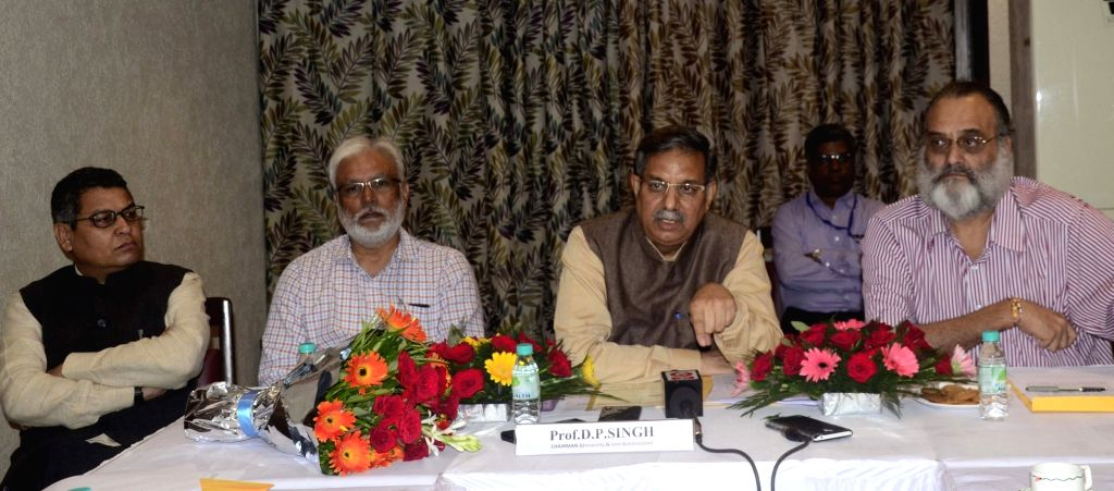 University Grants Commission (UGC) Chairperson D.P. Singh addresses a press conference, in Bhopal on Aug 21, 2019. - P. Singh