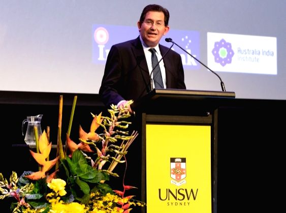UNSW Sydney President and Vice-Chancellor Ian Jacobs introduces the Gandhi Oration by Tim Costello.  (Photo courtesy: Jacquie Manning/UNSW)