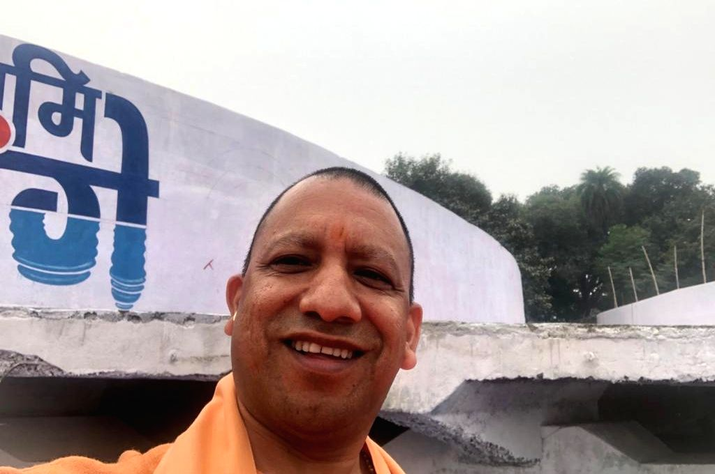 UP chief minister Yogi Adityanath, on Thursday, clicked his first ever selfie during a programme in Kanpur. - Yogi Adityanath