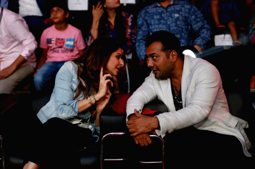 UP Terminators co-owner and singer Kanika Kapoor in conversation with with fimmaker Anurag Kashyap during the Grand Finale of Super Boxing League at DDA Squash and Badminton Stadium in New ... - Kanika Kapoor and Anurag Kashyap