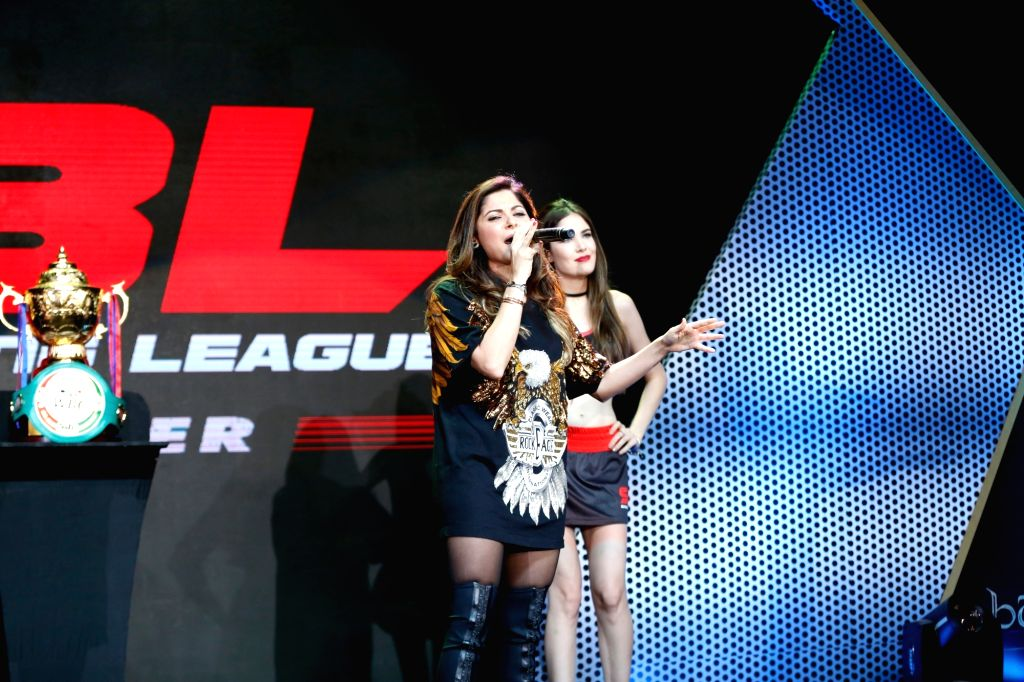 UP Terminators co-owner and singer Kanika Kapoor performs during the Grand Finale of Super Boxing League (SBL) at DDA Squash and Badminton Stadium in New Delhi on Aug 12, 2017. - Kanika Kapoor