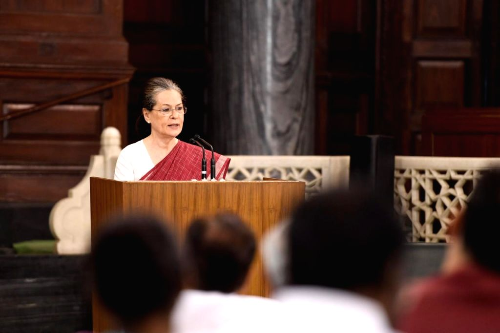 UPA chairperson Sonia Gandhi addresses during the Congress Parliamentary Party (CPP) meeting in New Delhi on June 1, 2019. Sonia Gandhi will continue as the Congress Parliamentary Party ... - Sonia Gandhi