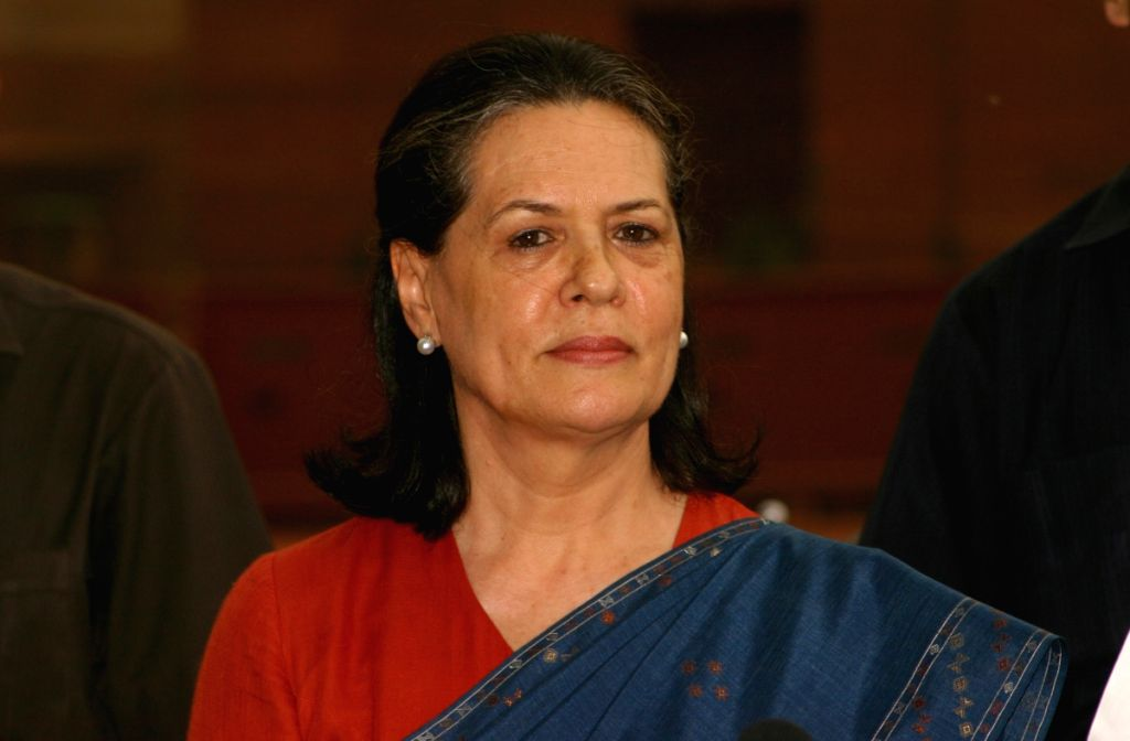 UPA Chairperson Sonia Gandhi after calling on President Pratibha Patil to stake claim to form the Government, at Rashtrapati Bhawan in New Delhi on Wednesday.