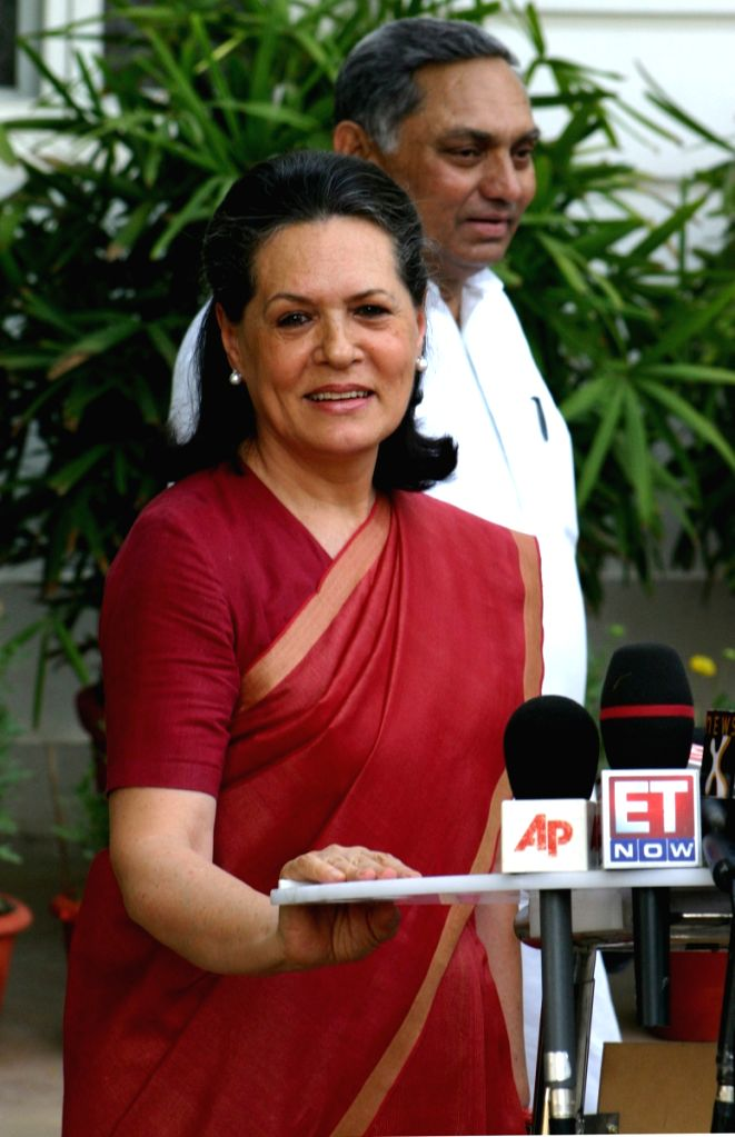 UPA Chairperson Sonia Gandhi after winning Loksabha election 2009,at her residence in New Delhi on Saturday.