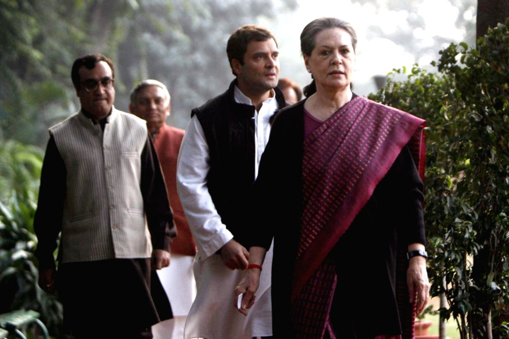 UPA Chairperson Sonia Gandhi and Congress Vice President Rahul Gandhi arrive to address media after losing in Rajasthan, being crushed in Delhi and failing to dislodge the BJP in Madhya Pradesh in ...