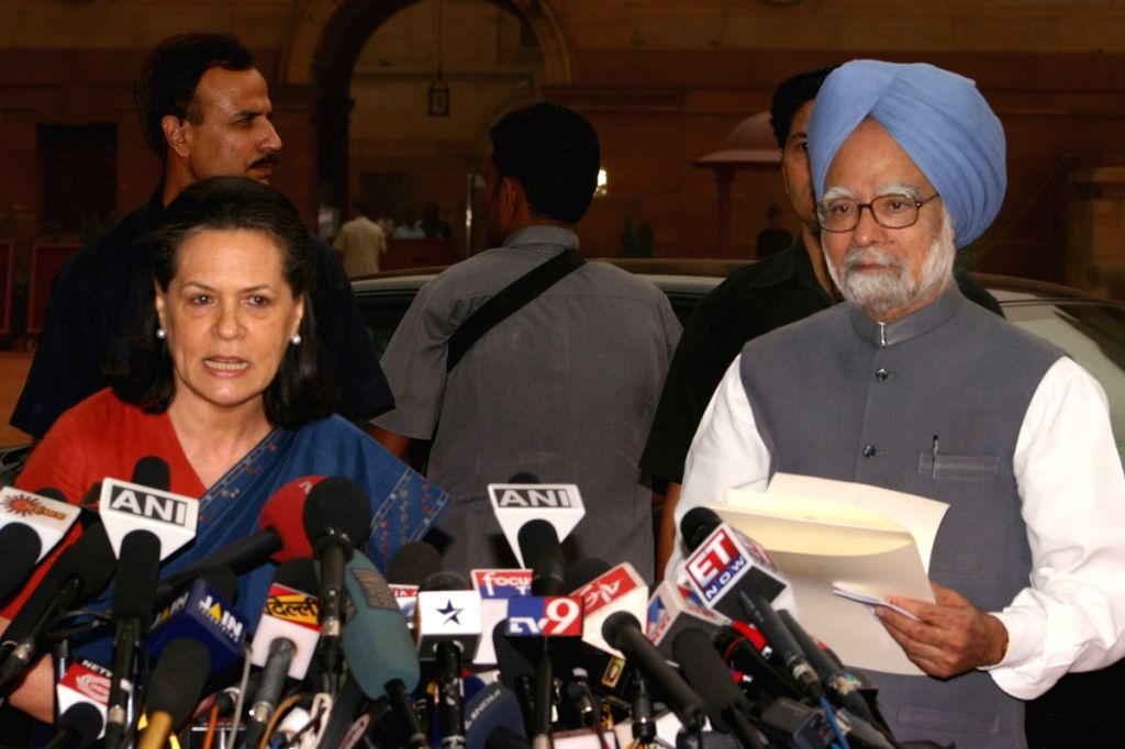 UPA Chairperson Sonia Gandhi and Prime Minister Manmohan Singh after calling on President Pratibha Patil to stake claim to form the government, at Rashtrapati Bhawan in New Delhi on Wednesday.