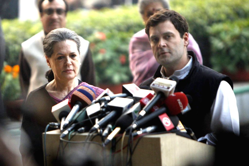 UPA Chairperson Sonia Gandhi stands by as UPA Chairperson Sonia Gandhi addresses media after losing in Rajasthan, being crushed in Delhi and failing to dislodge the BJP in Madhya Pradesh in New Delhi