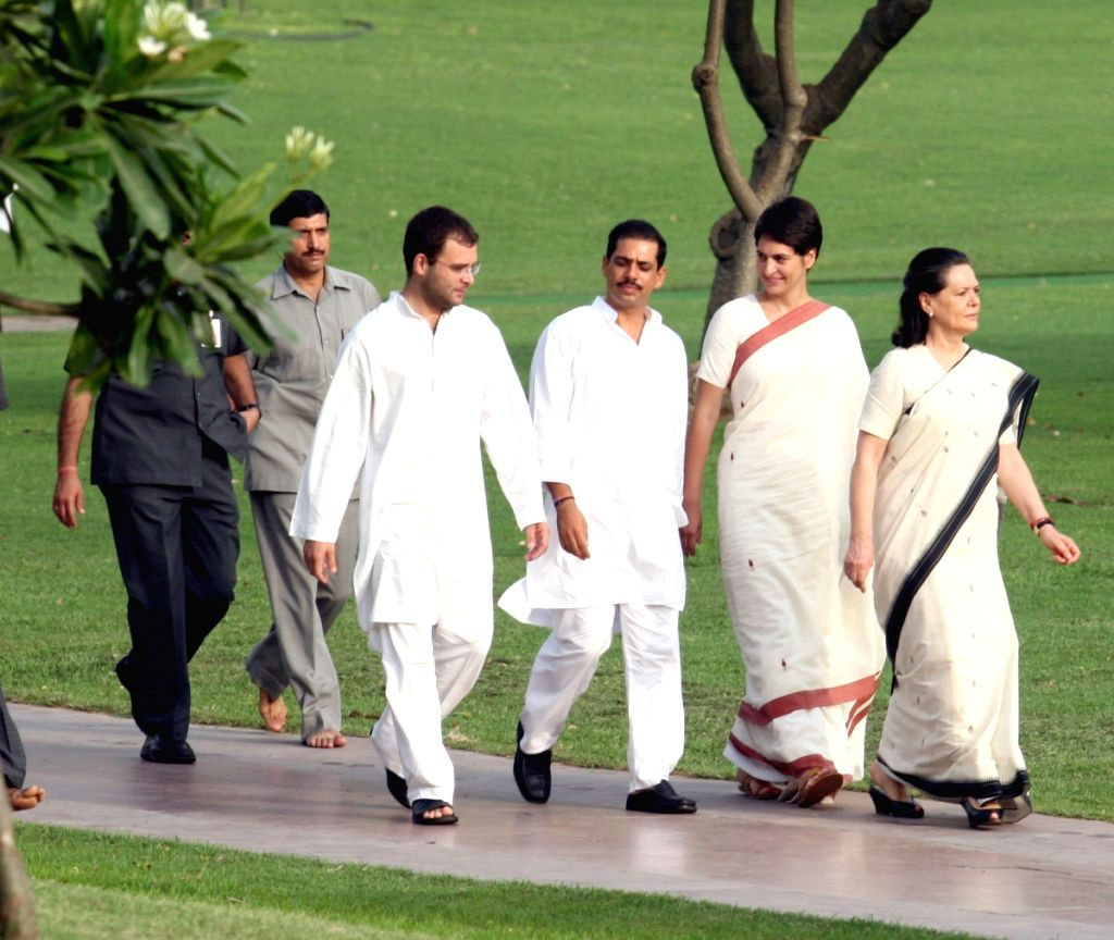 UPA chairperson Sonia Gandhi with her son Rahul Gandhi, son-in-law Robert Vadra and daughter Priyanka Vadra, after paying tributes to her husband  Rajiv Gandhi on his death anniversary, at Vir Bhumi i
