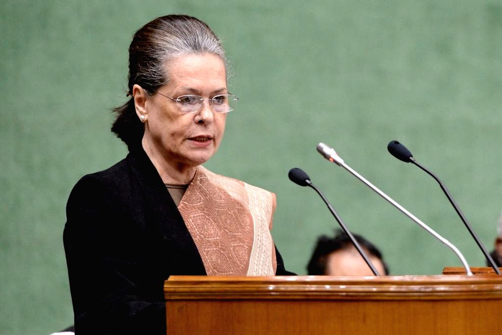 UPA chief Sonia Gandhi addresses at the Parliamentary Party meeting in New Delhi, on Feb 13, 2019. - Sonia Gandhi