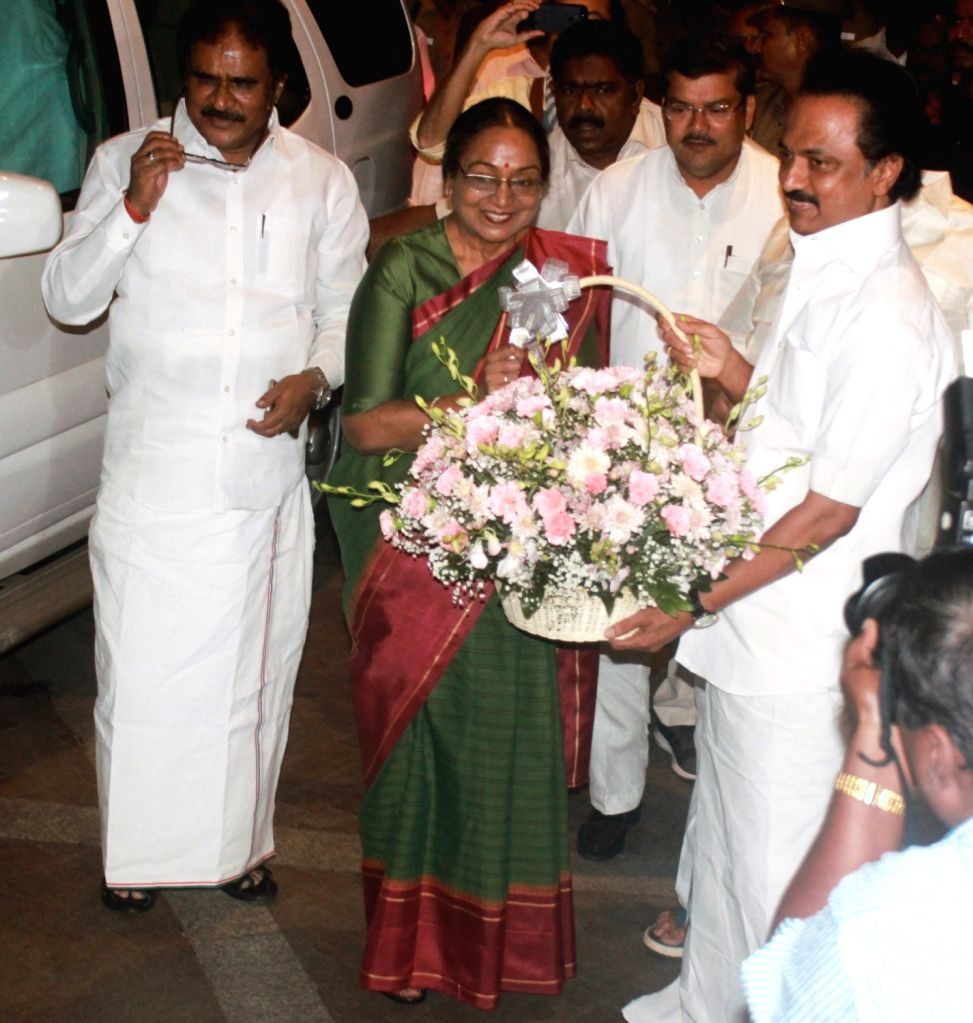UPA presidential candidate Meira Kumar being welcomed by DMK Working President MK Stalin in Chennai on July 1, 2017. - Meira Kumar