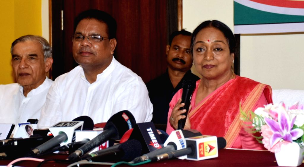 UPA's presidential candidate Meira Kumar addresses a press conference in Guwahati, on July 5, 2017. - Meira Kumar