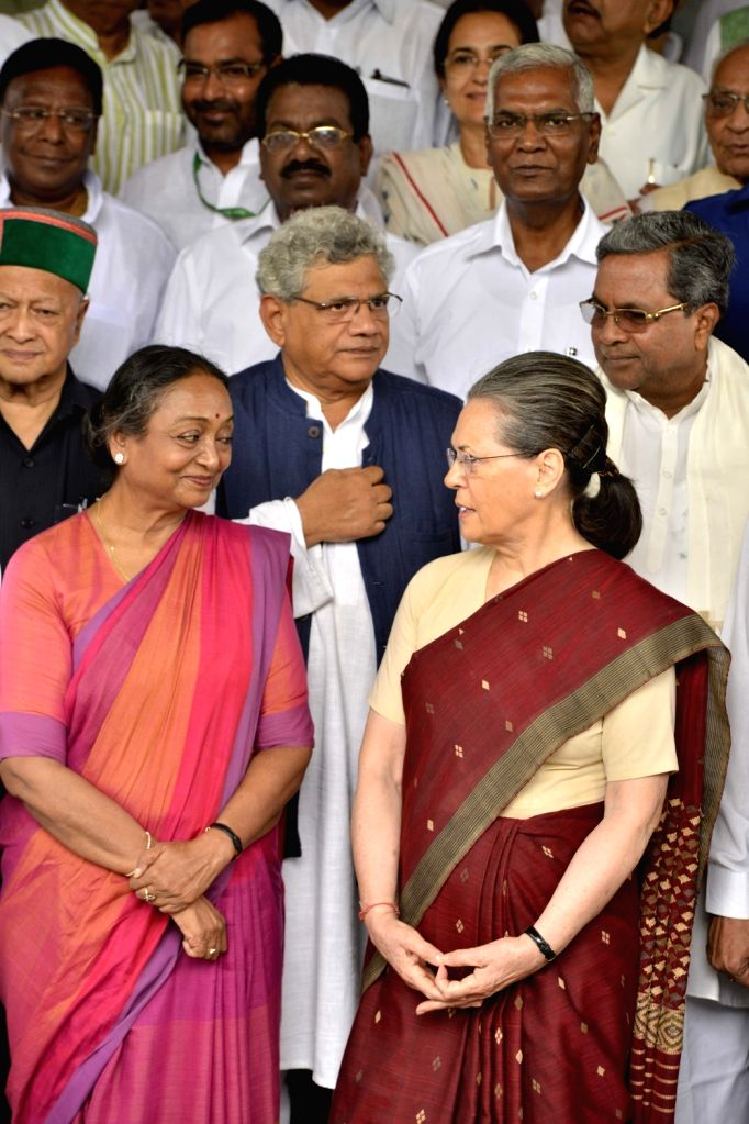 UPA's presidential candidate Meira Kumar arrives at Parliament to file her nomination papers with Congress President Sonia Gandhi, Sitaram Yechury (CPI-M)  Siddaramaiah (Congress) and ... - Sitaram Yechury, Meira Kumar and Sonia Gandhi