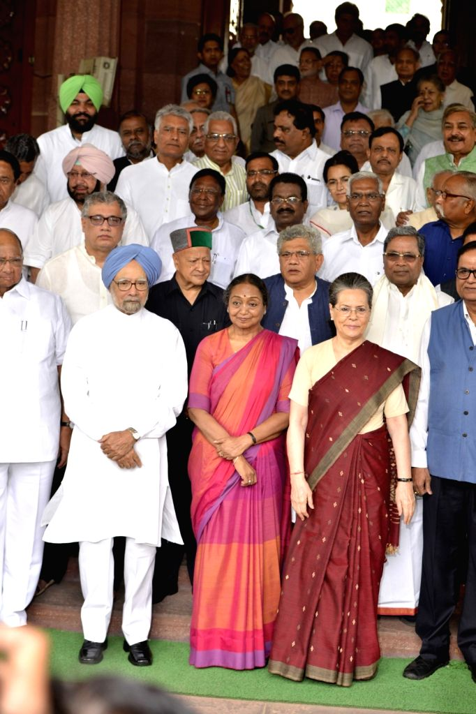 UPA's presidential candidate Meira Kumar arrives at Parliament to file her nomination papers with Congress President Sonia Gandhi, Dr Manmohan Singh (Congress), Sitaram Yechury (CPI-M), ... - Sitaram Yechury, Meira Kumar, Sonia Gandhi, Manmohan Singh and Virbhadra Singh