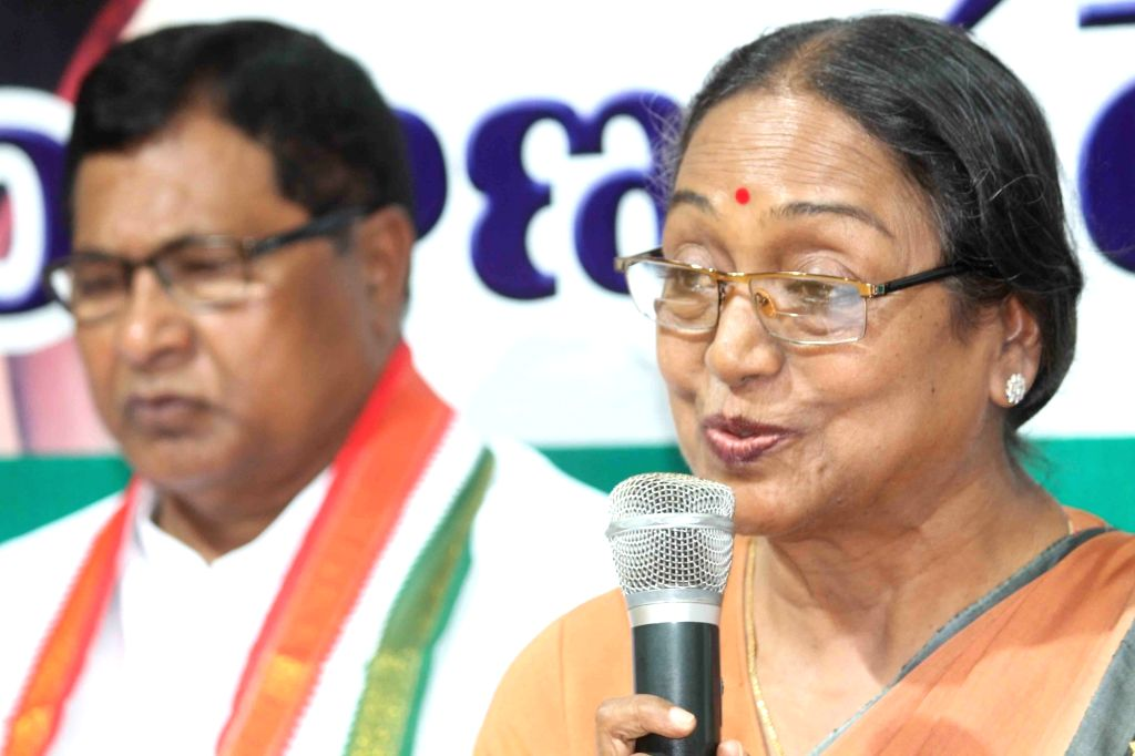 UPA's presidential candidate Meira Kumar during a press conference at Gandhi Bhavan in Hyderabad on July 3, 2017. - Meira Kumar