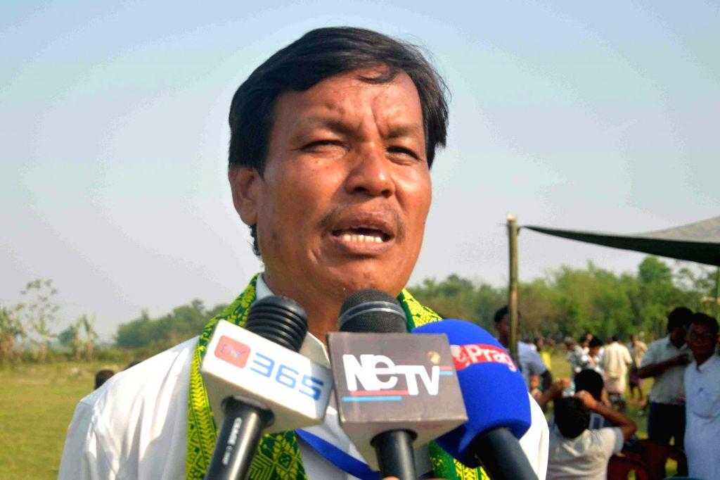 Urkhao Gwra Brahma independent candidate from Kokrajhar addresses press during an election campaign in Kokrajhar of Assam on April 20, 2014.