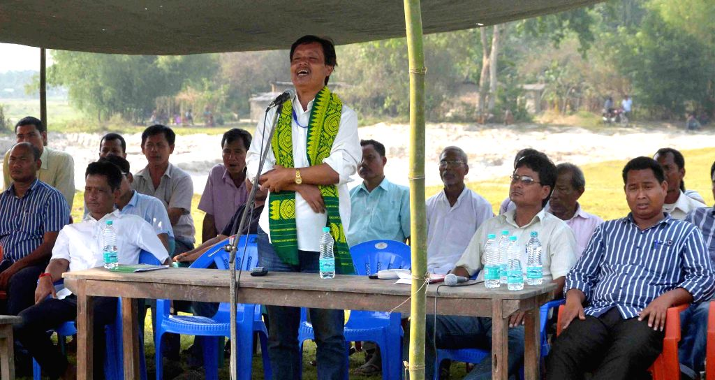 Urkhao Gwra Brahma independent candidate from Kokrajhar during an election campaign in Kokrajhar of Assam on April 20, 2014.