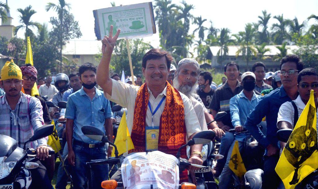 Urkhao Gwra Brahma independent candidate from Kokrajhar during an election campaign in Kokrajhar of Assam on April 21, 2014.
